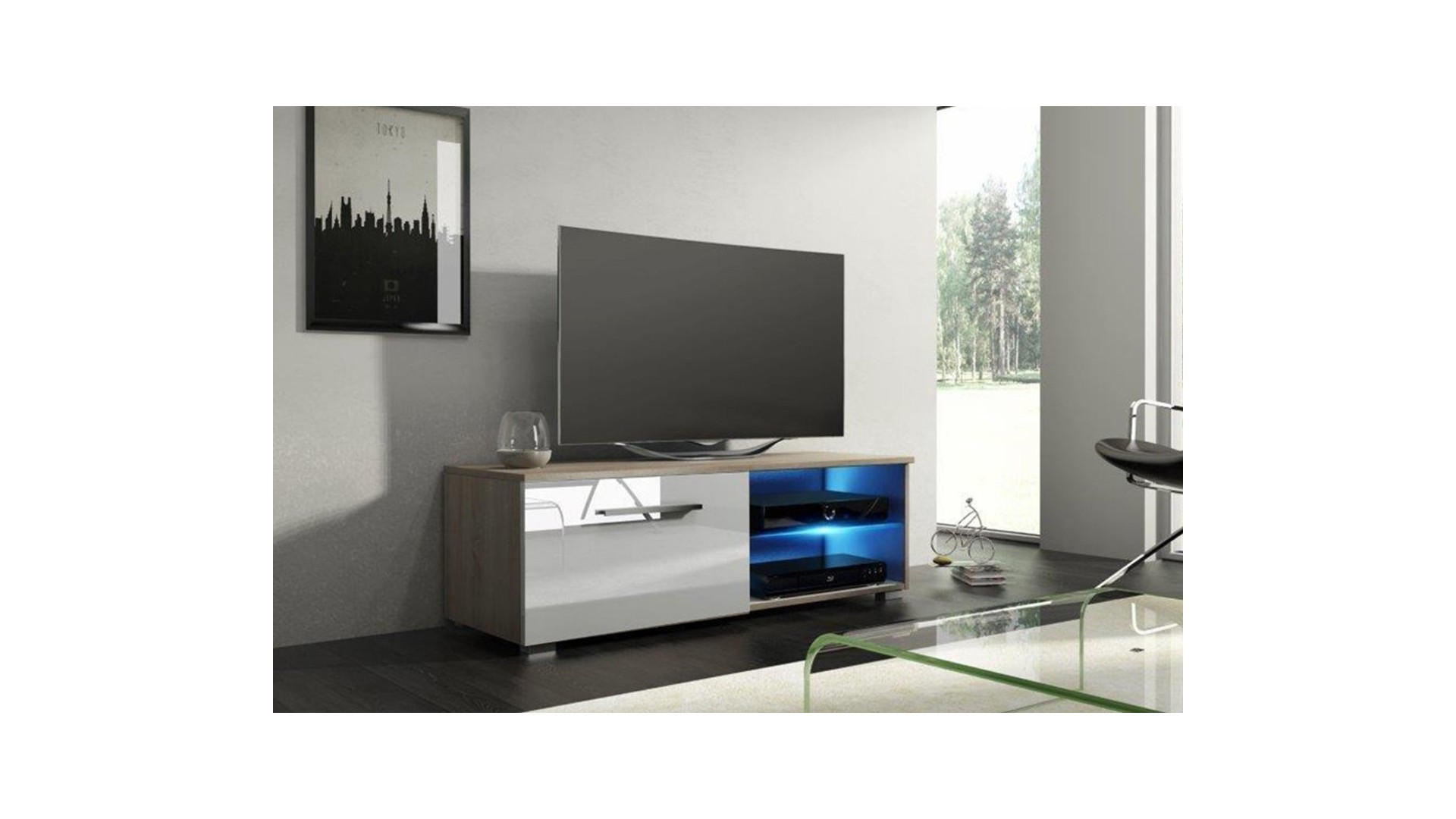 COMODA TV MOON 100 SONOMA/ALBA DIN PLACI LAMINATE 16 MM