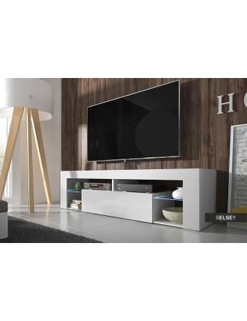 COMODA TV HUGO ALB 140CM DESIGN MODERN