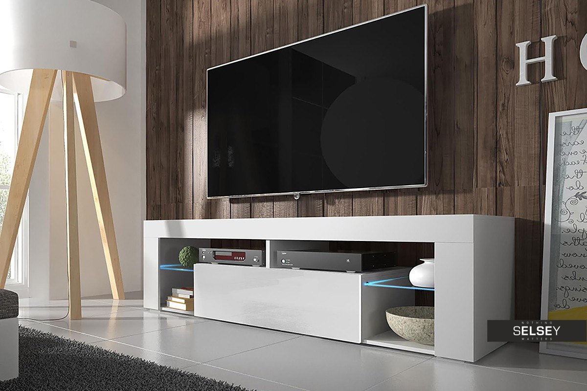 COMODA TV HUGO ALB 140CM DESIGN MODERN