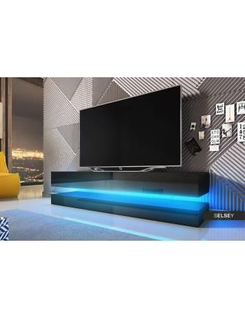 COMODA TV AVIATOR DE CULOARE NEAGRA 140CM DESIGN MODERN