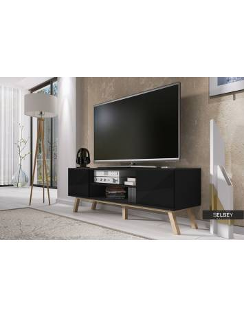 COMODA TV VERO DE CULOARE NEAGRA HIGH GLOSS 150CM DESIGN SCANDINAV