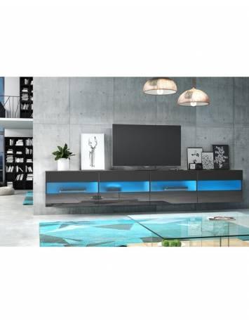 COMODA TV NEAGRA CU LED SI TELECOMANDA RITA DOUBLE - DESIGN MODERN