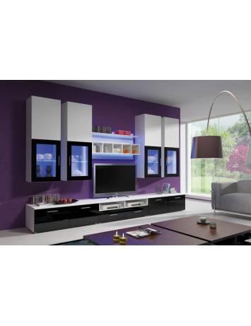 ANSAMBLU TV CU LED ALFA KM ALB/NEGRU - DESIGN MODERN