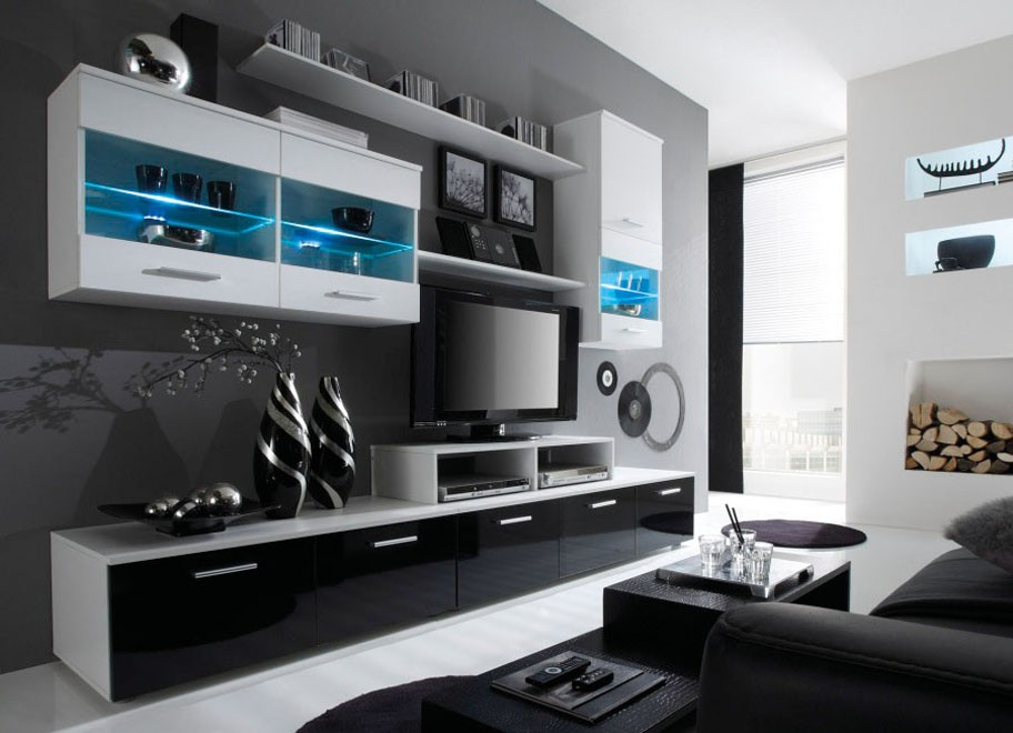 ANSAMBLU CU LEDURI TV BETA KM ALB/NEGRU DESIGN MODERN