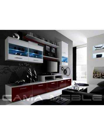 SET LIVING CU LED LOGO II ALB/BORDO DESIGN MODERN CM