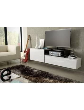 COMODA RTV LIVING SIGMA 3A ALB/NEGRU DESIGN MODERN CM