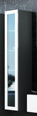VITRINA LIVING CU LED VIGO 180 GRI/ALB DESIGN MODERN CM