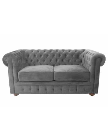 SOFA CHESTERFIELD 164CM GRI DESCHIS DIN STOFA DE LUX DESIGN DEOSEBIT