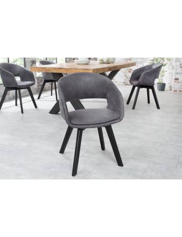 SET 2 SCAUNE GRI ANTIC/NEGRU NORDIC STAR 38505 - DESIGN SCANDINAV