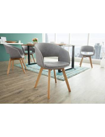SET 2 SCAUNE NATURAL/GRI NORDIC STAR 38503 - DESIGN SCANDINAV