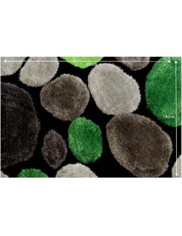 Covor 140x200 cm, verde/gri/negru, PEBBLE TYP 1, 0000201380