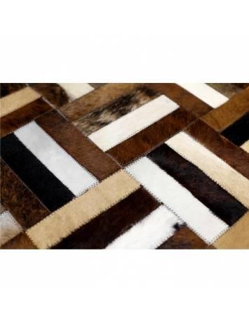 Covor de lux din piele, maro/negru/bej, patchwork, 70x140 , PIELE DE VITĂ TIP 2, 0000188800