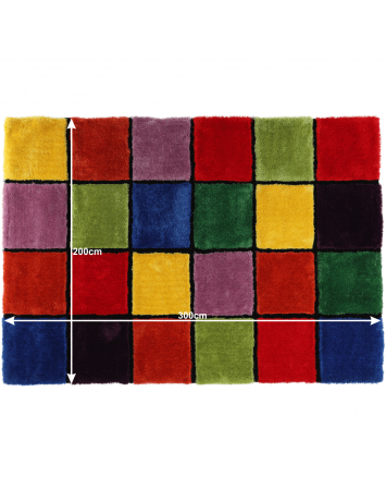 Covor, roşu/verde/galben/violet, 200x300, LUDVIG TYP 4, 0000201408