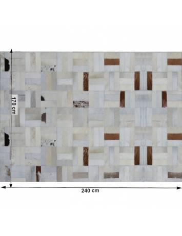 Covor de lux din piele, alb/gri/maro, patchwork, 170x240, PIELE DE VITĂ TYP 1, 0000188796