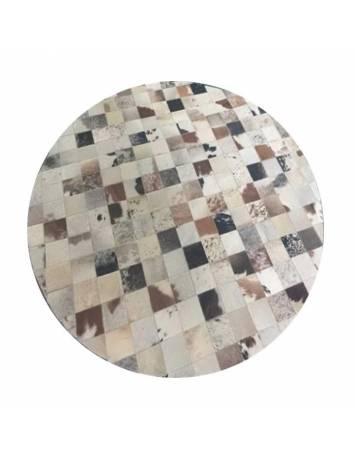 Covor de lux din piele, alb/gri/maro, patchwork, 200x200, PIELE DE VITĂ TIP 10, 0000188873