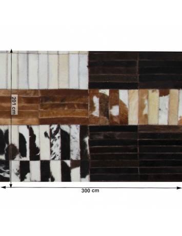 Covor de lux din piele, negru/maro/alb, patchwork, 201x300, PIELE DE VITĂ TIP 4, 0000188866