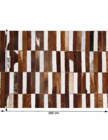 Covor de lux din piele, maro/alb, patchwork, 201x300, Piele de vită Tip 5, 0000188857