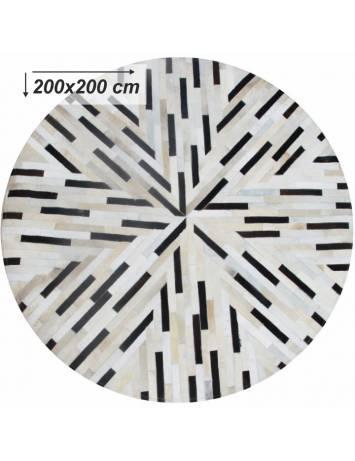 Covor de lux din piele, negru/bej/alb, patchwork, 200x200, PIELE DE VITĂ TIP 8, 0000188868