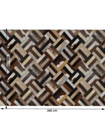 Covor de lux din piele, maro/negru/bej, patchwork, 200x300 , PIELE DE VITĂ TIP 2, 0000188841
