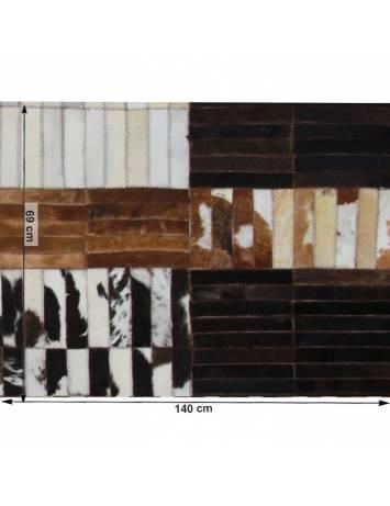 Covor de lux din piele, negru/maro/alb, patchwork, 69x140, PIELE DE VITĂ TIP 4, 0000188862