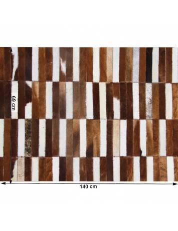 Covor de lux din piele, maro/alb, patchwork, 69x140, PIELE DE VITĂ TIP 5, 0000188861