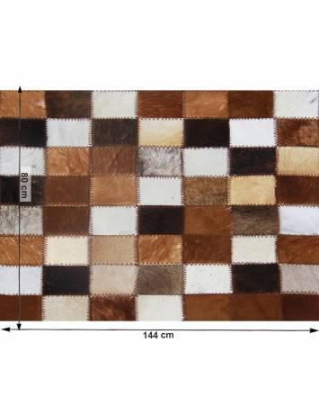 Covor de lux din piele, maro/negru/alb, patchwork, 80x144, PIELE DE VITĂ TIP 3, 0000188848