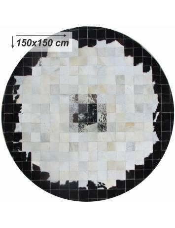 Covor de lux din piele, negru/bej/alb, patchwork, 150x150, PIELE DE VITĂ TIP 9, 0000188871