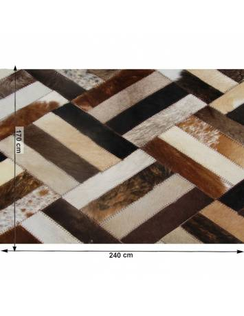 Covor de lux din piele, maro/negru/bej, patchwork, 170x240 , PIELE DE VITĂ TIP 2, 0000188840