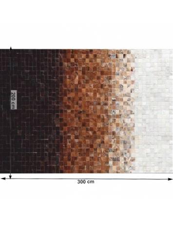Covor de lux din piele, alb/maro/negru, patchwork, 200x300, PIELE DE VITĂ TYP 7, 0000188794