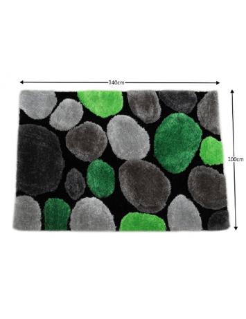 Covor 100x140 cm, verde/gri/negru, PEBBLE TYP 1, 0000201388