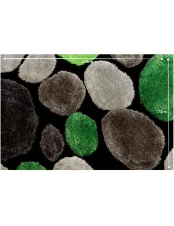 Covor 170x240 cm, verde/gri/negru, PEBBLE TYP 1, 0000201381