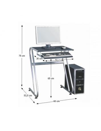Masă PC, neagră+argintie, JOFRY, 0000085851
