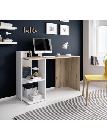 Masă PC, stejar artisan/alb mat, ANDREO, 0000269189