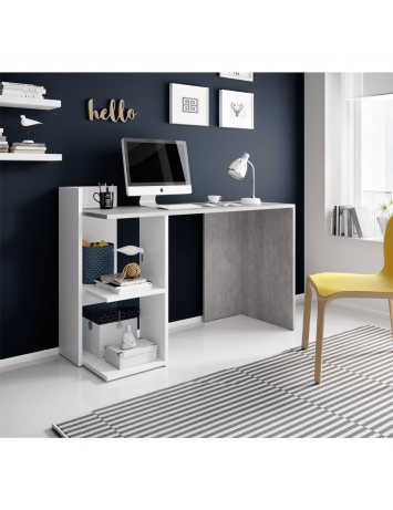 Masă PC, beton/alb mat, ANDREO, 0000269191