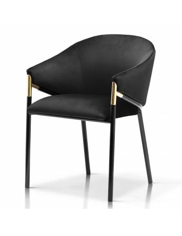 Scaun elegant, cu brate, FANCY, negru, cu tapiterie din catifea, sil Modern, ATR