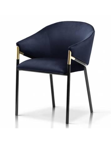 Scaun elegant, cu brate, FANCY albastru granit/negru, cu tapiterie din catifea, Stil Modern ATR
