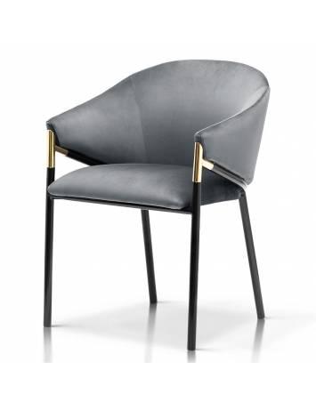 Scaun elegant, cu tapiterie din catifea,FANCY gri/negru, Stil Modern ATR