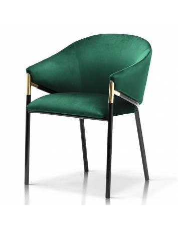 Scaun elegant, cu brate, FANCY, verde/negru, cu tapiterie din catifea, stil Modern ATR