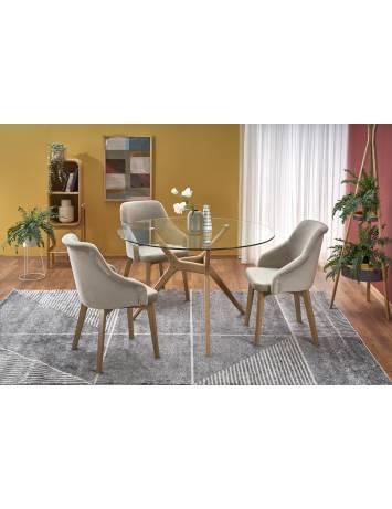 Masa living, cu blat de sticla si cadru din lemn masiv, ASHMORE, 120 cm, transparent/natural, HALMAR