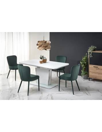 Masa extensibila pentru dining, Bonari, alba, din Mdf, sticla si otel inoxidabil, stil Modern, HALMAR