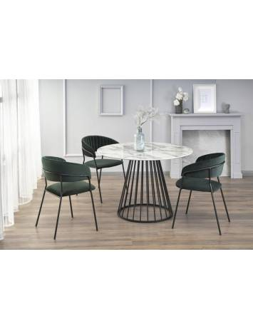 Masa pentru living, BRODWAY, alb marmorat/negru, din MDF si Otel inoxidabil, stil Modern, HALMAR