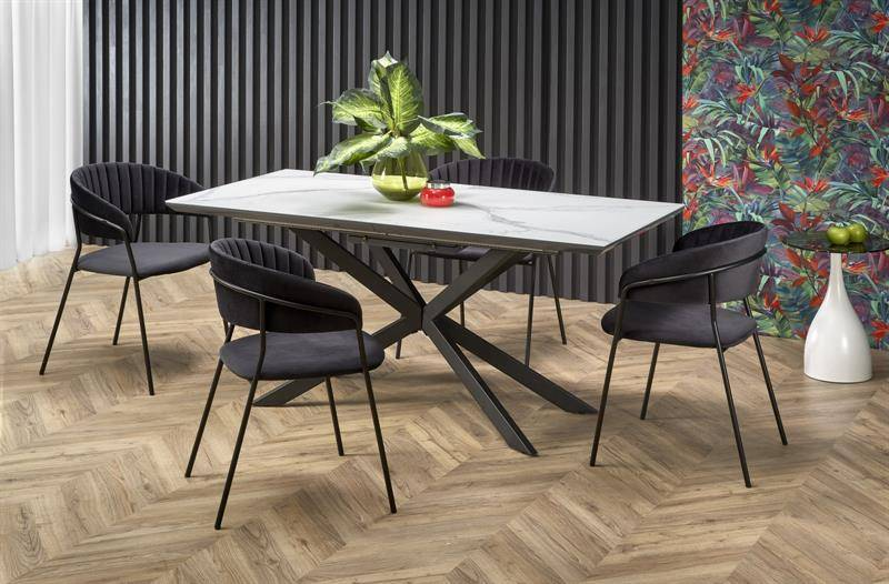 Masa de dining, DIESEL, productie HALMAR, din MDF si Otel inoxidabil, stil Modern