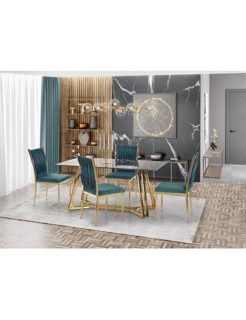 Masa dining/living KONAMI aurie/efect marmura, din Otel si Sticla, stil modern HALMAR