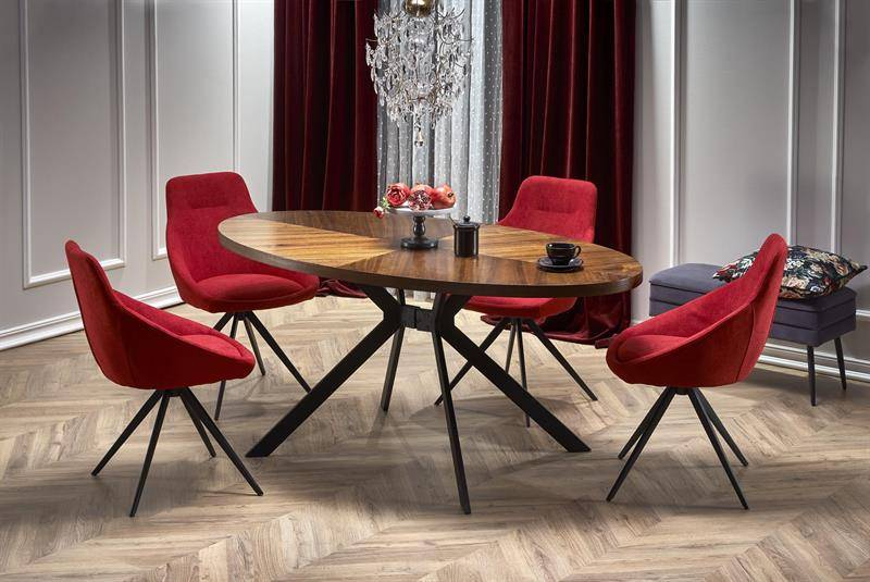 Masa dining extensibila, LORCANO, nuc/negru, din furnir, MDF si Otel, stil Vintage HALMAR