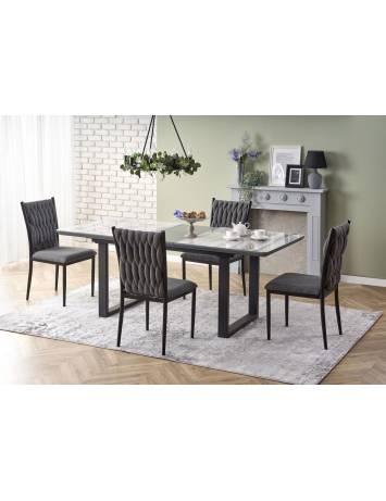 Masa dining extensibila, MARLEY, din sticla, MDF si Otel, stil modern HALMAR
