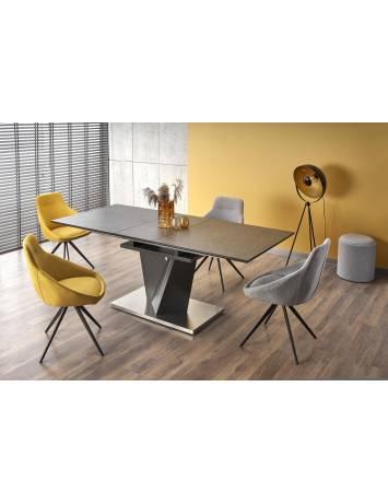 Masa dining extensibila, SALVADOR, gri/gri inchis, din MDF, sticla si Otel, stil modern HALMAR