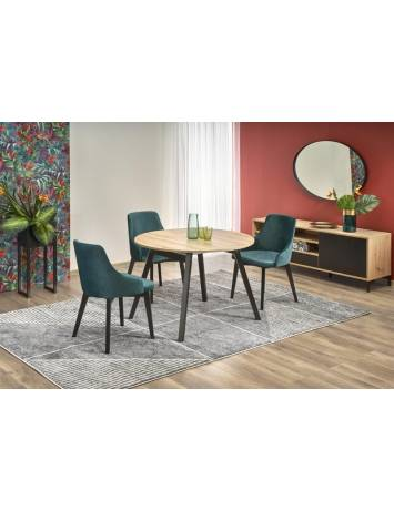 Masa dining RUBEN, extensibila, 102/142, stejar artisan/negru, stil Clasic, HALMAR
