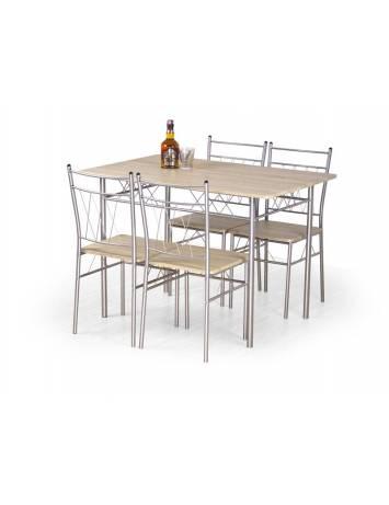 Set dining FAUST stejar sonoma, masa + 4 scaune, stil clasic HALMAR