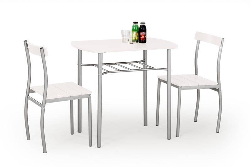 Set Masa cu 2 Scaune LANCE alb, din MDF si Metal, stil Modern, HALMAR