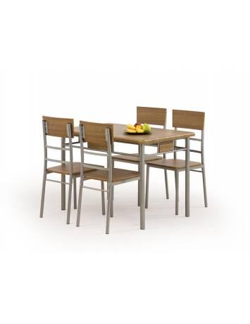 Set dining Masa cu 4 Scaune NATANIEL, culoare nuc, din metal si MDF, stil Clasic, HALMAR